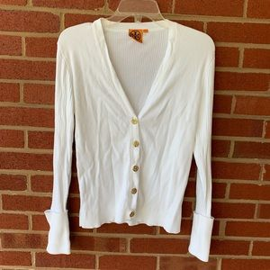 Tory Burch white cardigan with gold hardware